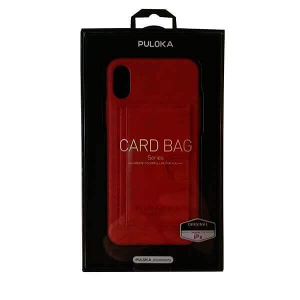 Handy Schutzhülle Card Bag PULOKA für iPhone X rot